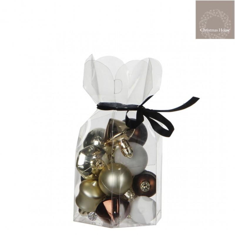 Kerstballen Bruin-wit-champagne Plastic (15 Stuks)