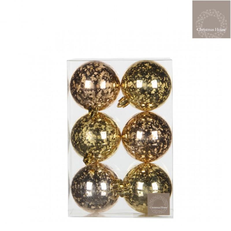Kerstballen Goud-champagne (6 Stuks)