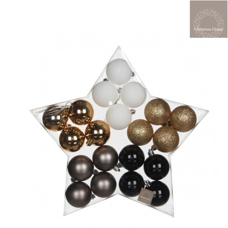 Kerstballen Goud-wit-grijs-zwart Plastic (20 Stuks)