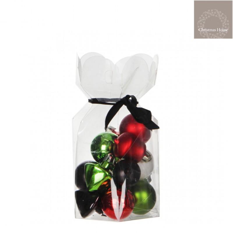 Kerstballen Groen-rood-wit-zwart (15 Stuks)