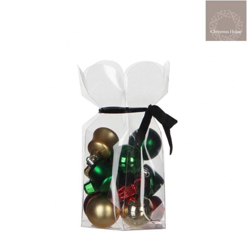 Kerstballen Rood-goud-groen Plastic (15 Stuks)