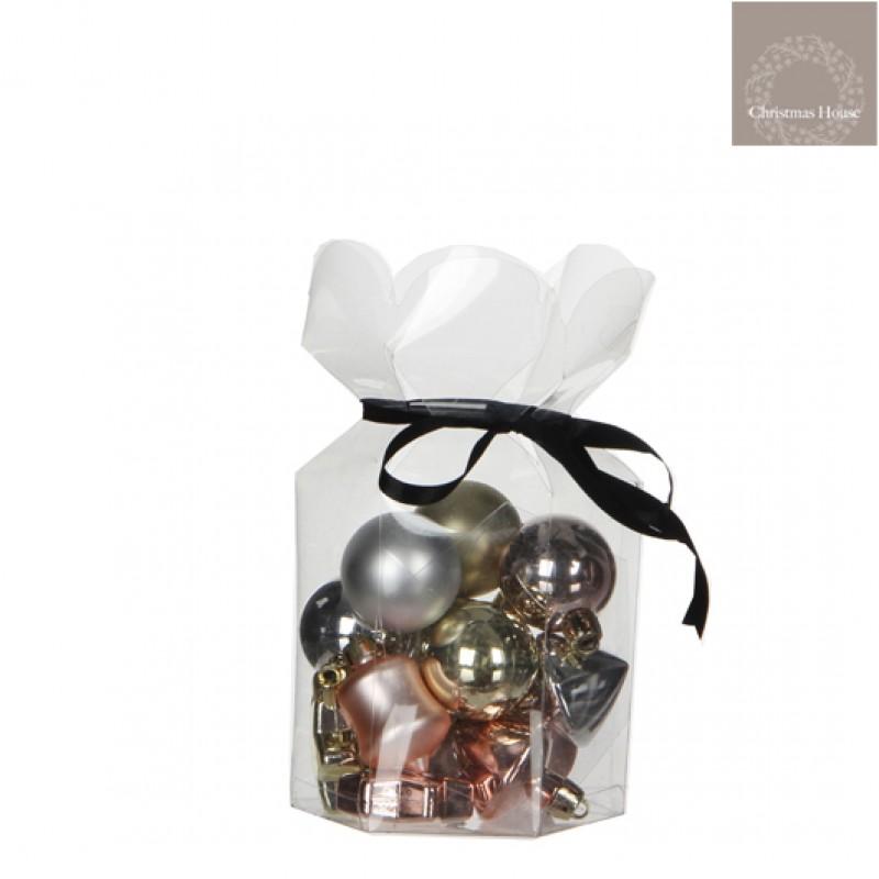Kerstballen Zilver-champagne-goud Plastic (15 Stuks)