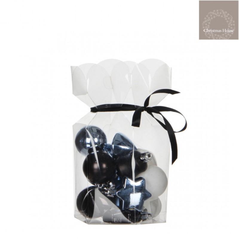 Kerstballen Zwart-wit-blauw Plastic (15 Stuks)