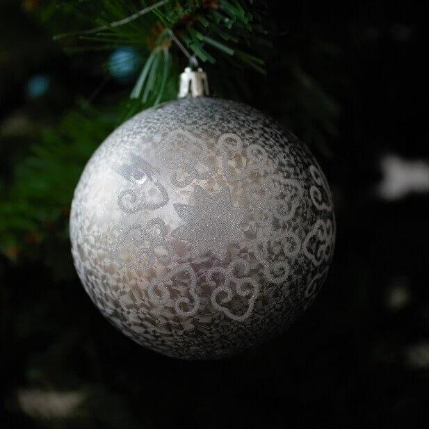 Kerstballen Wit-grijs Glitter Plastic (4 Stuks)
