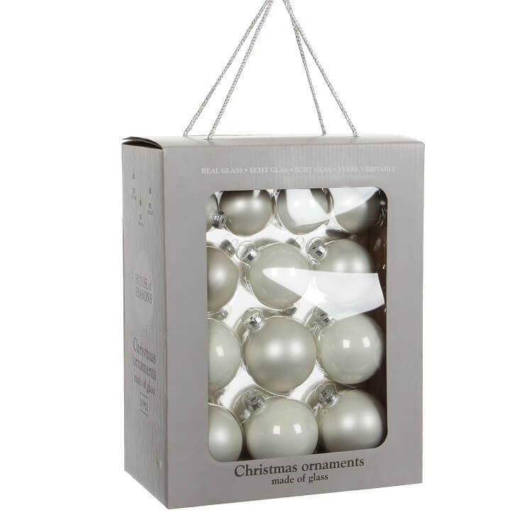 Kerstballen Wit Glas (26 Stuks)