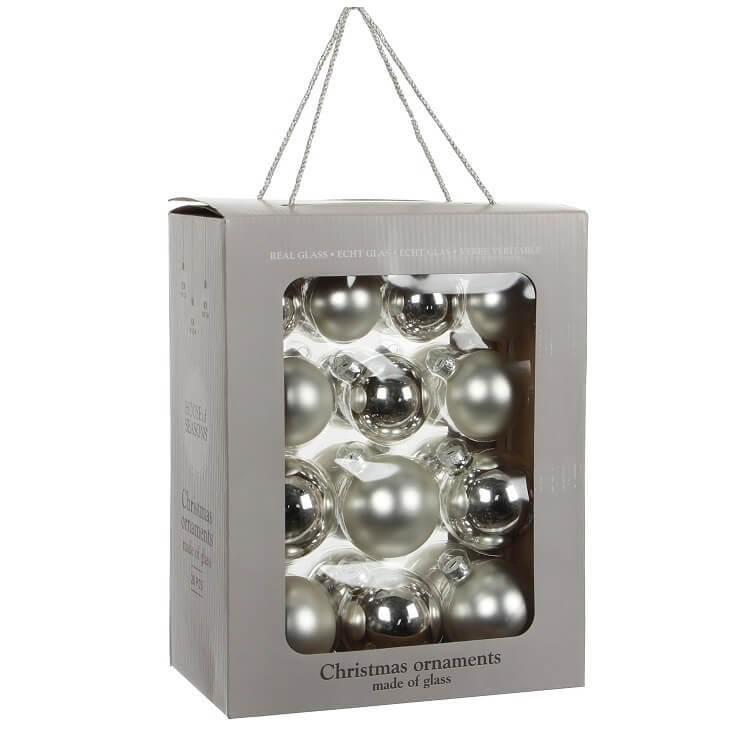 Kerstballen Zilver Glas (26 Stuks)